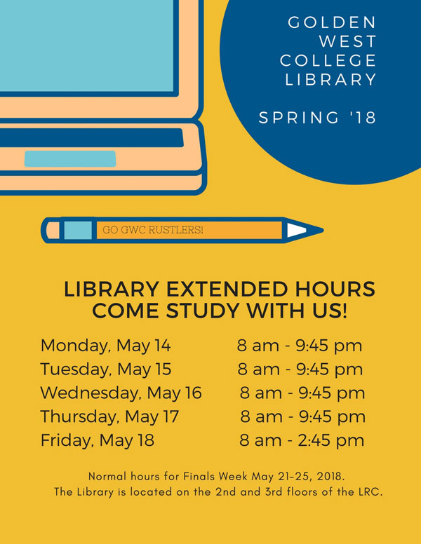 Library extended hours for May 14-18