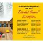 Library Extended Hours for Fall 2018: December 4, 5, 6, 10, and 11